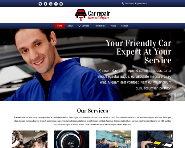 Desktop screenshot of the Car Repair Website Template