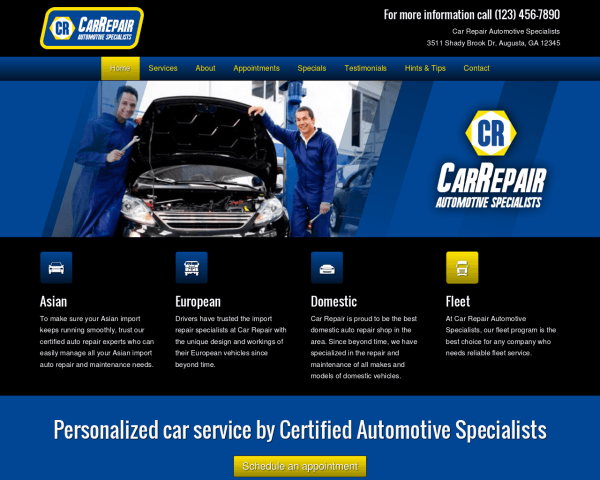 Desktop screenshot of the Car Repair Wordpress Theme