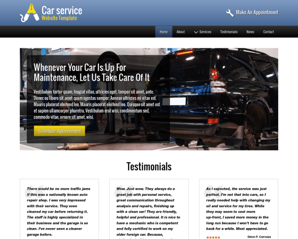 Desktop screenshot of the Car Service Website Template