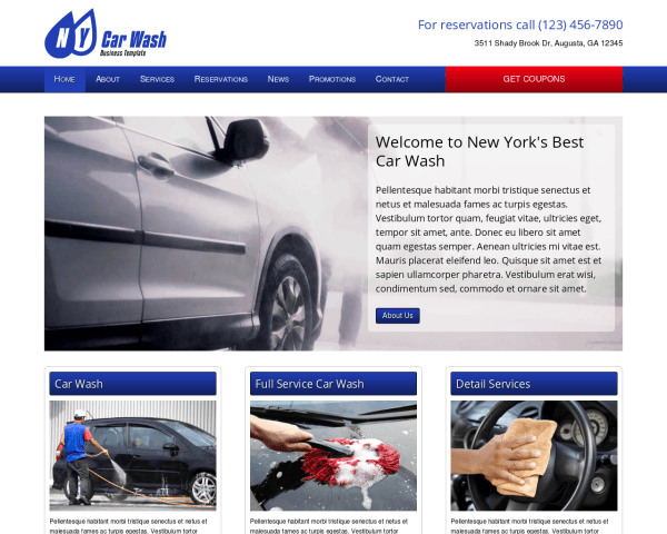 Desktop screenshot of the Car Wash Wordpress Theme