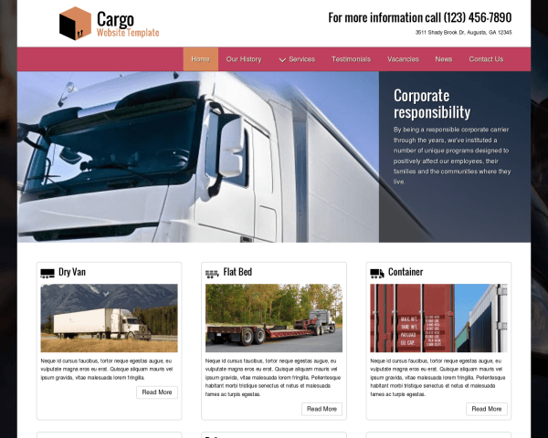 Desktop screenshot of the Cargo Website Template