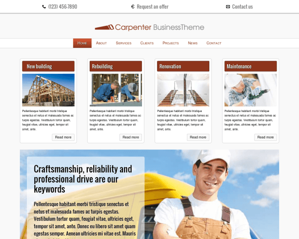 Desktop screenshot of the Carpenter Wordpress Theme