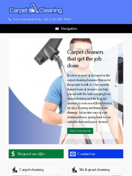 tablet screenshot WordPress theme 'Carpet Cleaning WordPress Theme'