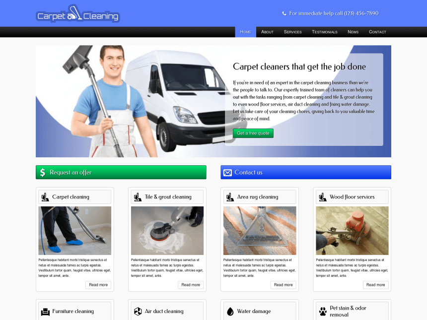 desktop screenshot of the WordPress theme 'Carpet Cleaning WordPress Theme'