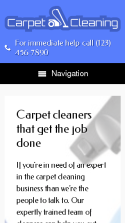 mobile phone screenshot WordPress theme 'Carpet Cleaning WordPress Theme'