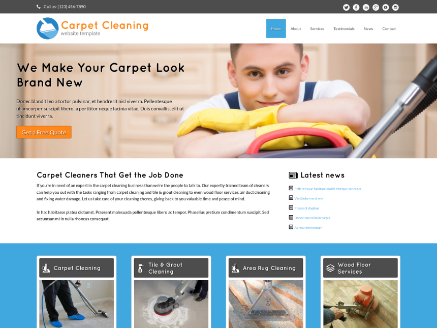 Carpet Cleaning Website Template - Carpet Cleaning WP theme