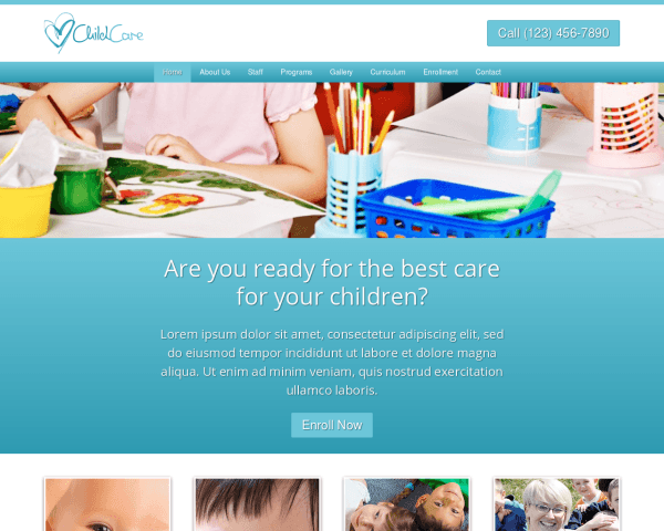 Desktop screenshot of the Child Care Wordpress Theme