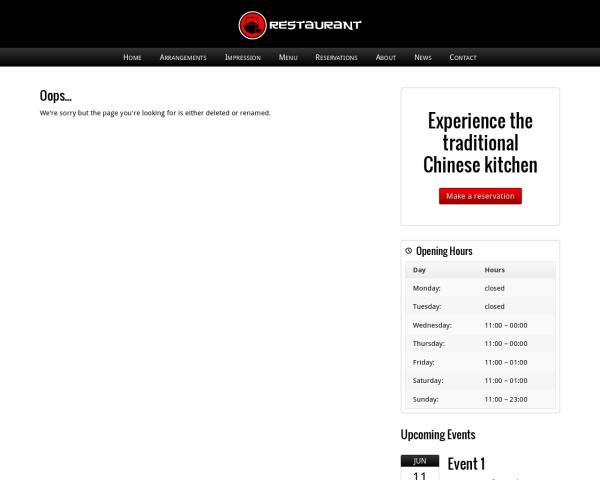Desktop screenshot of the Chinese Restaurant Wordpress Theme