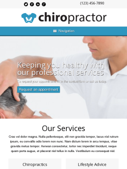 tablet screenshot WordPress theme 'Chiropractor WordPress theme'