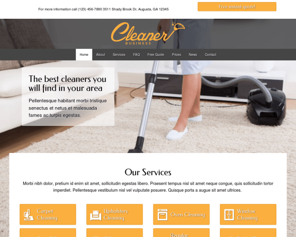 Desktop screenshot of the Cleaner Business Wordpress Theme