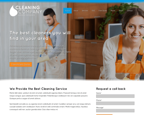 Desktop screenshot of the Cleaning Company Website Template