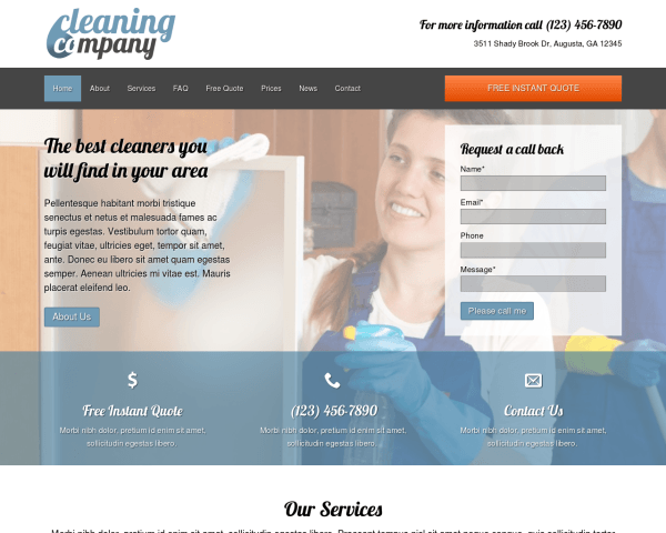 Desktop screenshot of the Cleaning Company Wordpress Theme