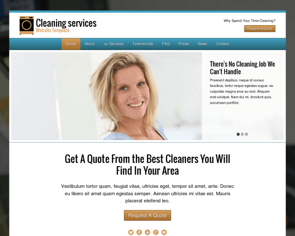 Desktop screenshot of the Cleaning Services Website Template