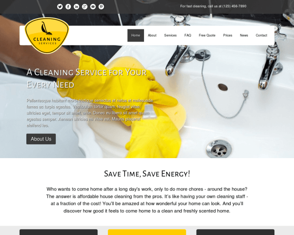 Desktop screenshot of the Cleaning Services Wordpress Theme