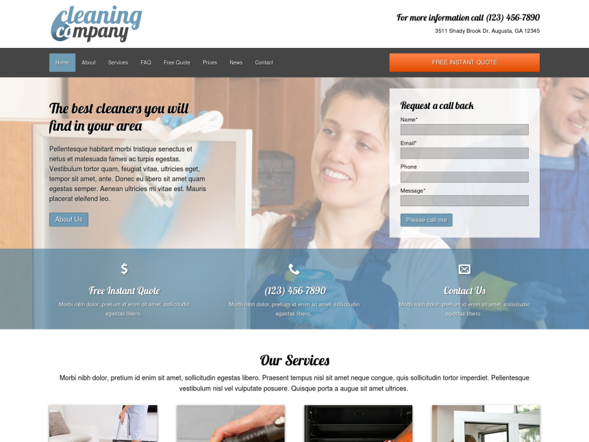 desktop screenshot of the WordPress theme 'Cleaning Company WordPress theme'