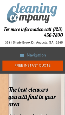mobile phone screenshot WordPress theme 'Cleaning Company WordPress theme'