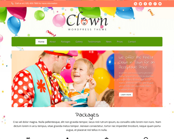 Desktop screenshot of the Clown Wordpress Theme