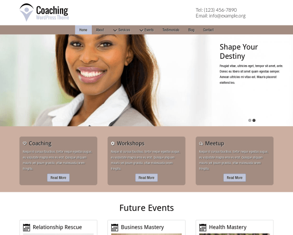 Desktop screenshot of the Coaching Wordpress Theme