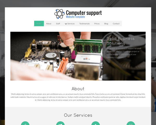 Desktop screenshot of the Computer Support Website Template