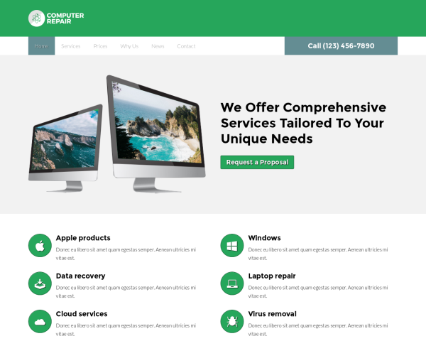 image representation of the Computer repair Website Template