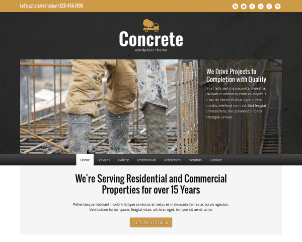Desktop screenshot of the Concrete Wordpress Theme