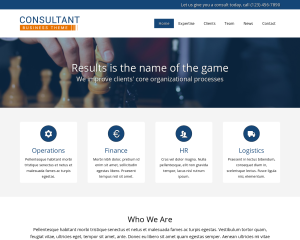 laptop screenshot WordPress theme 'Consultant WordPress theme'