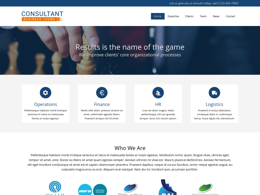 desktop screenshot of the WordPress theme 'Consultant WordPress theme'