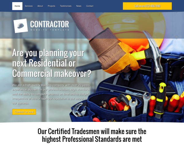 image representation of the Contractor Website Template