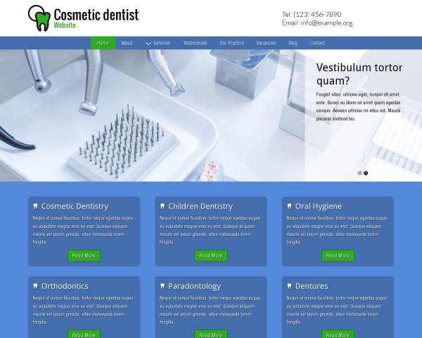 Desktop screenshot of the Cosmetic Dentist Website