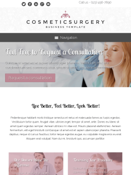 tablet screenshot WordPress theme 'Cosmetic Surgery WordPress theme'