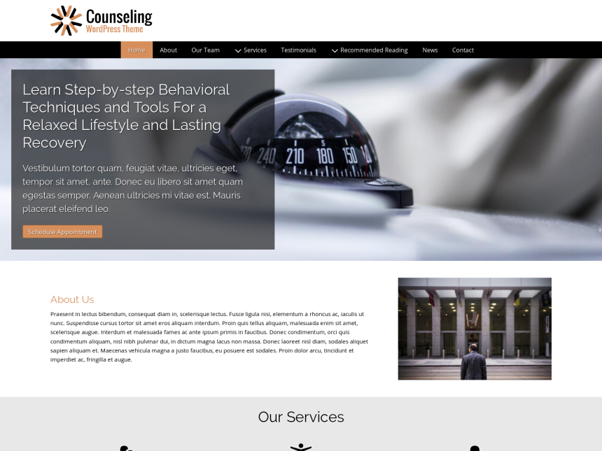 desktop screenshot of the WordPress theme 'Counseling Wordpress Theme'