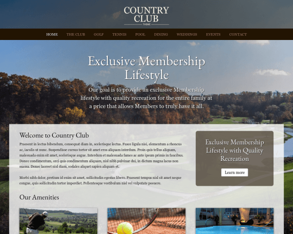 Country Club WordPress theme thumbnail (desktop screenshot)