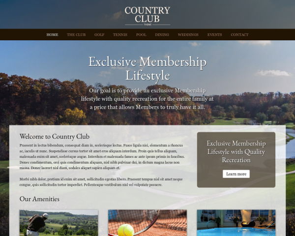 laptop screenshot WordPress theme 'Country Club WordPress theme'
