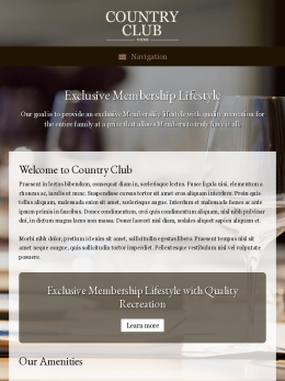 tablet screenshot WordPress theme 'Country Club WordPress theme'