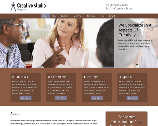 Desktop screenshot of the Creative Studio Template