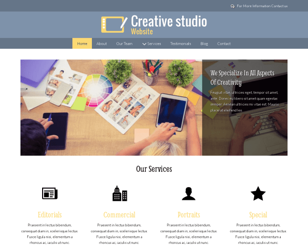 Desktop screenshot of the Creative Studio Website