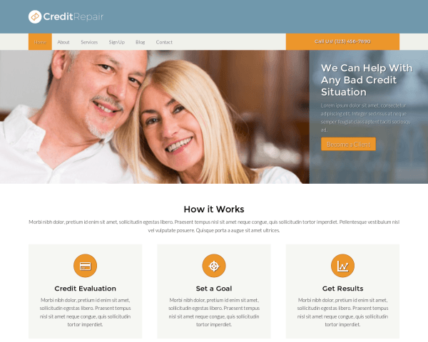 Desktop screenshot of the Credit Repair Wordpress Theme