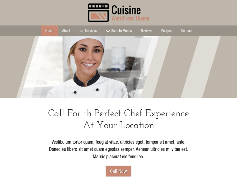landscape tablet screenshot of WordPress theme 'Cuisine Wordpress Theme'