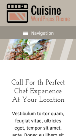 mobile phone screenshot WordPress theme 'Cuisine Wordpress Theme'