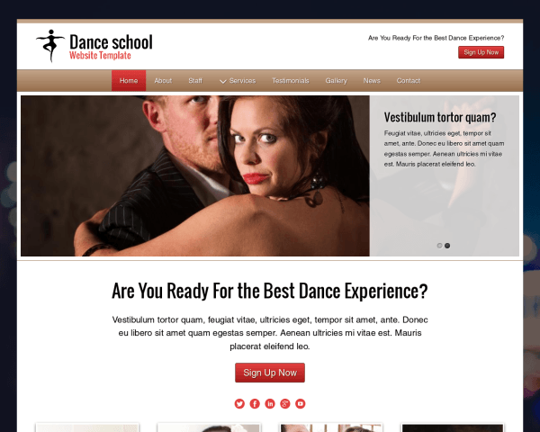 Desktop screenshot of the Dance School Website Template