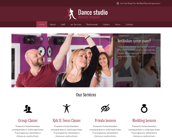 Desktop screenshot of the Dance Studio Website Template