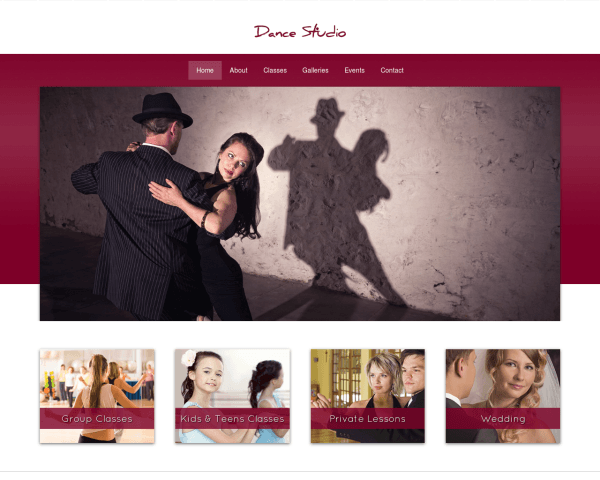 Desktop screenshot of the Dance Studio Wordpress Theme