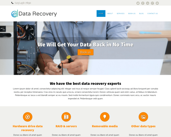 image representation of the Data Recovery Website Template