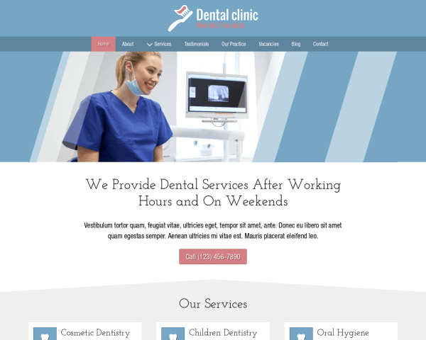 Desktop screenshot of the Dental Clinic Website Template