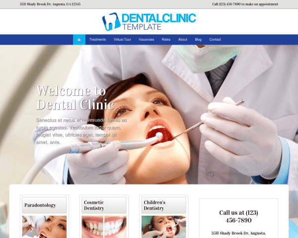 Desktop screenshot of the Dental Clinic Wordpress Theme