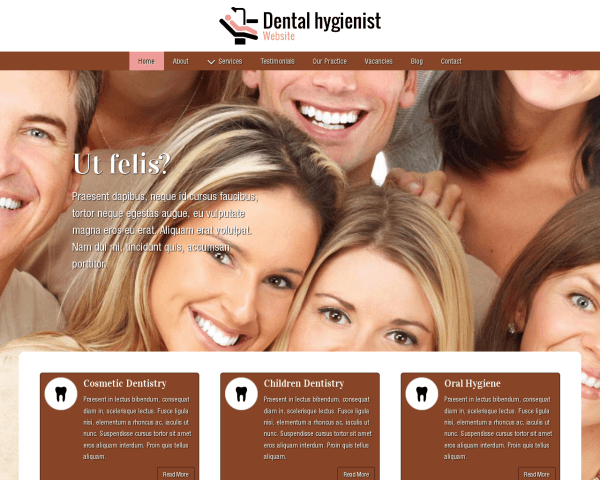 Desktop screenshot of the Dental Hygienist Website
