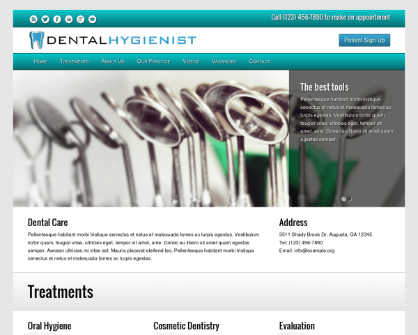 Desktop screenshot of the Dental Hygienist Wordpress Theme