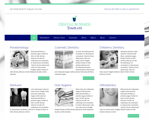 Desktop screenshot of the Dental Wordpress Theme