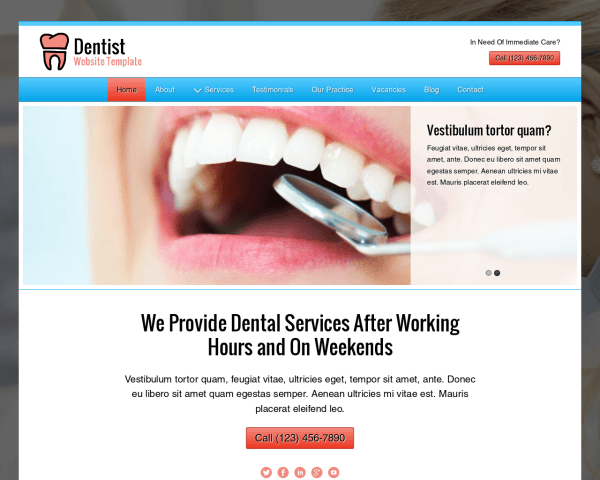 Desktop screenshot of the Dentist Website Template