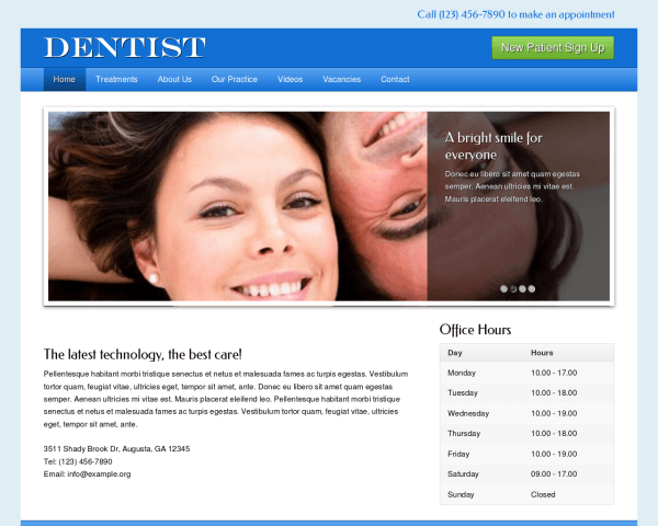Desktop screenshot of the Dentist Wordpress Theme